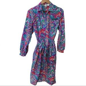 Don Elliot Vintage Paisley Shirt Dress Size 8P